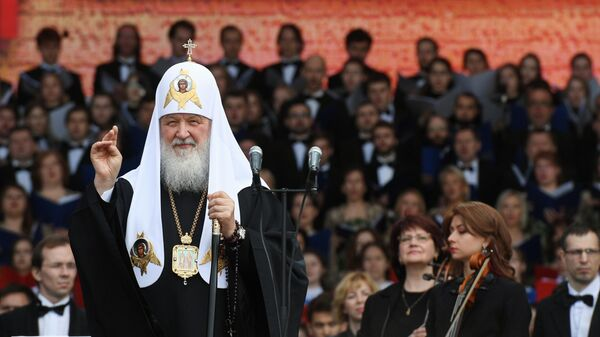 Патриарх Московский и всея Руси Кирилл принимает участие во всероссийском праздничном концерте, посвященном Дню славянской письменности и культуры на Красной площади. 24 мая 2019