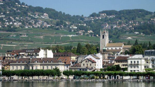 Вид на город Веве со стороны Женевского озера