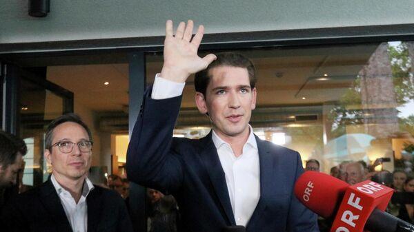 Себастьян Курц у штаба Народной партии Австрии в Вене