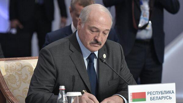 Президент Белоруссии Александр Лукашенко во время церемонии подписания совместных документов по итогам заседания Высшего Евразийского экономического совета