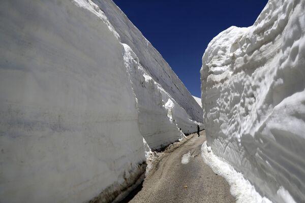 Люди фотографируют 10-метровыми стены снега в Ливане