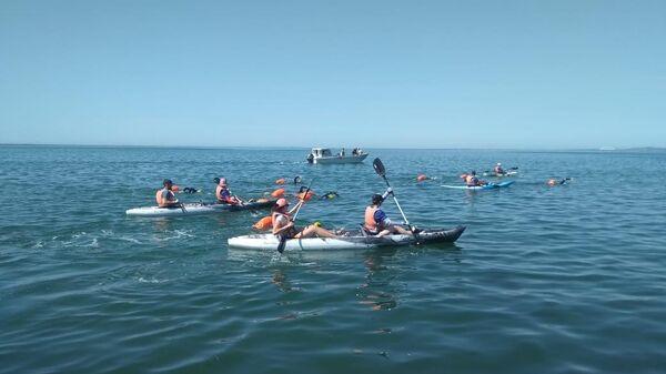 Старт заплыва в Керченском проливе.1 июня 2019