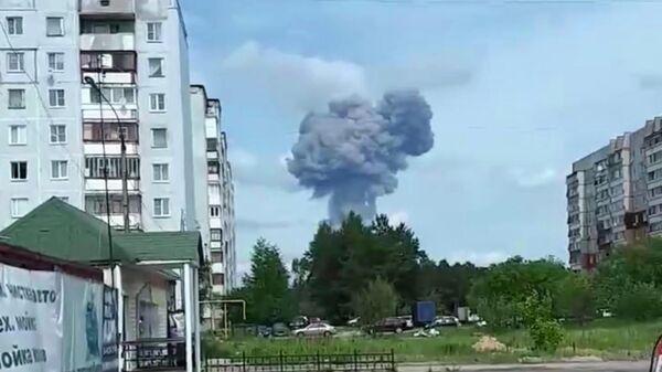 Скриншот видео взрыва на оборонном заводе в Нижегородской области. 1 июня 2019