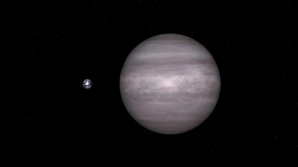 Компьютерная модель планеты HAT-P-3b по сравнению с Землей