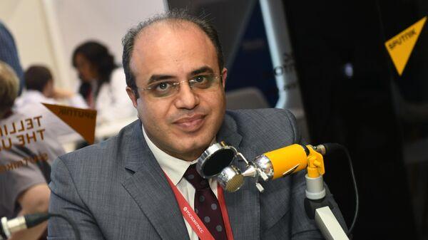 Министр экономики и внешней торговли Сирии Самер аль-Халиль во время интервью на стенде МИА Россия сегодня в конгрессно-выставочном центре Экспофорум на Петербургском международном экономическом форуме