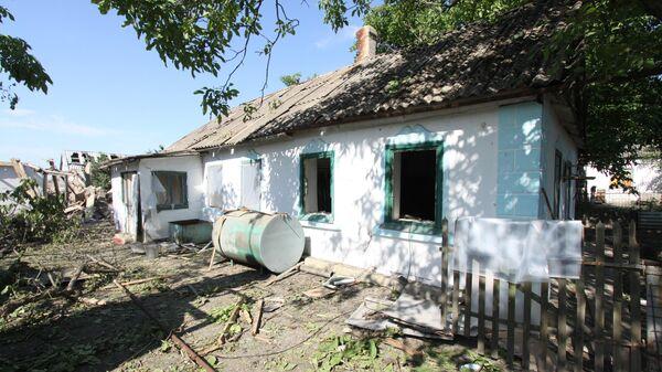 Жилой дом в поселке Новая Марьевка в Донецкой области, пострадавший в результате ночного обстрела