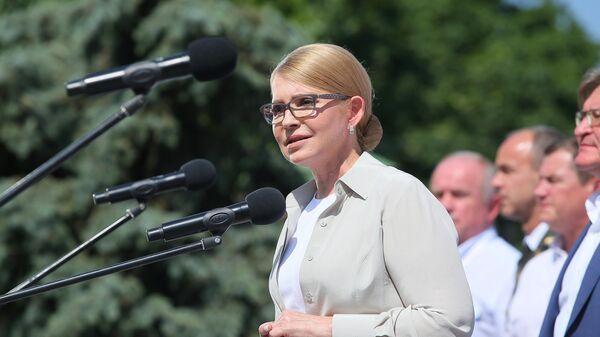 Лидер партии Батькивщина Юлия Тимошенко выступает на съезде партии в Киеве