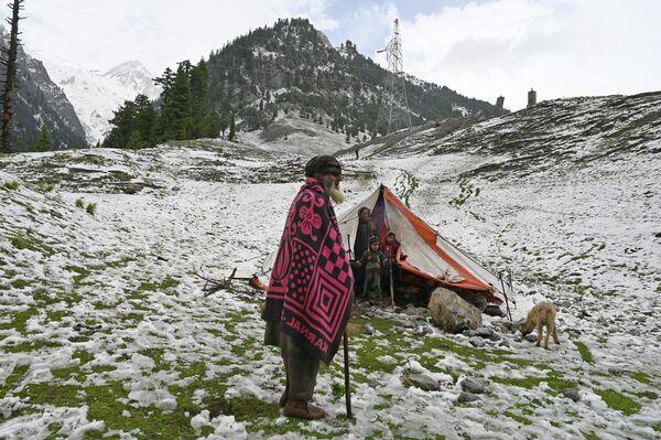 Кашмирский кочевник после снегопада в Сонамарге, Индия