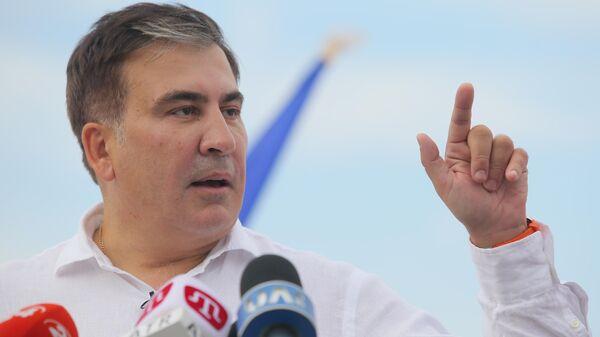 Лидер политической партии Движение новых сил Михаил Саакашвили на пресс-конференции в Киеве. 13 июня 2019