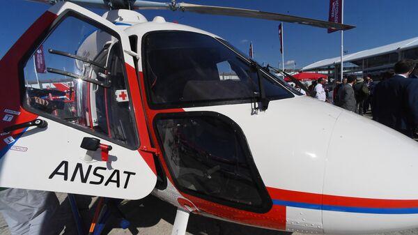 Легкий многоцелевой вертолет Ансат, представленный на международном аэрокосмическом салоне Paris Air Show 2019 во Франции