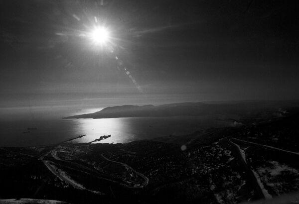 Вид на Малую Землю - один из плацдармов Великой Отечественной войны 1941-1945 годов