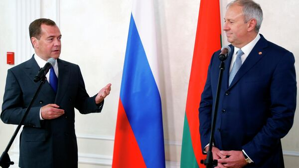 Председатель правительства РФ Дмитрий Медведев и премьер-министр Белоруссии Сергей Румас