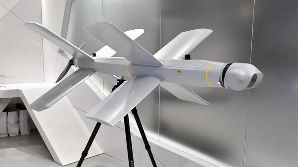 Барражирующий дрон-камикадзе ZALA Ланцет на стенде концерна Калашников в рамках открытия международного военно-технического форума Армия-2019