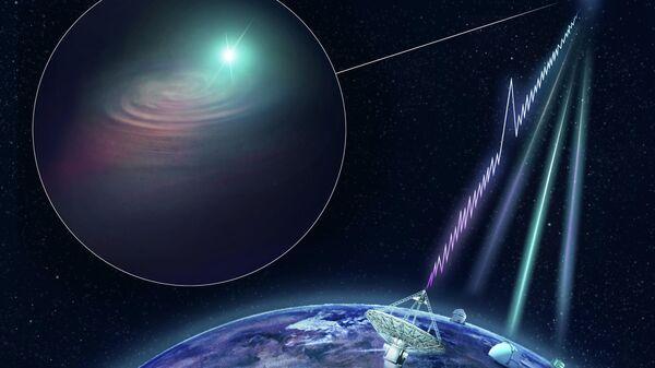 Так художник представил себе радиовсплеск, родившийся в галактике DES J2144-4054