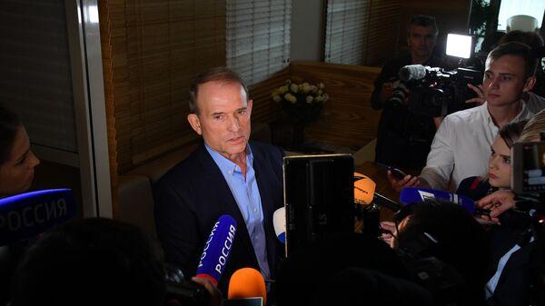 Глава политического совета партии Оппозиционная платформа - За жизнь Виктор Медведчук отвечает на вопросы журналистов