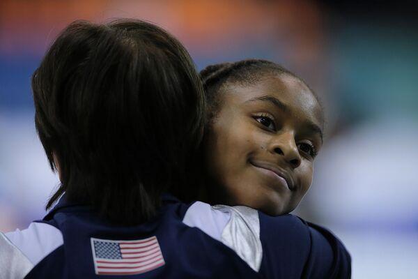 Американская спортсменка на чемпионате мира по спортивной гимнастике в Дьере