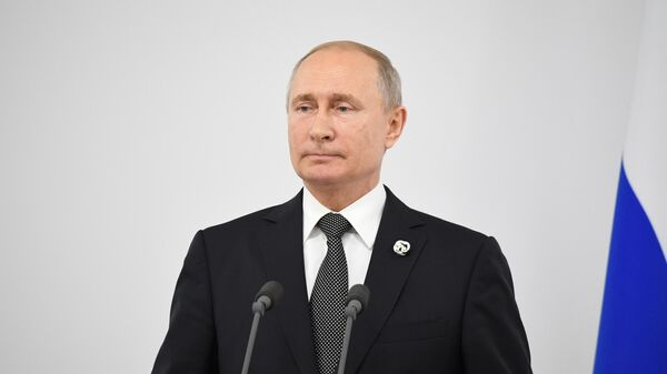 Президент РФ Владимир Путин на пресс-конференции по итогам саммита Группы двадцати. 29 июня 2019