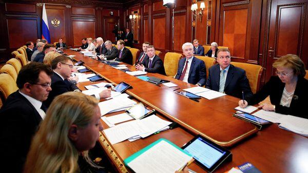 Председатель правительства РФ Дмитрий Медведев проводит заседание президиума Совета при президенте РФ по стратегическому развитию и национальным проектам. 2 июля 2019