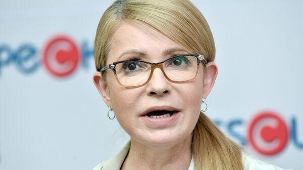 Лидер политической партии Батькивщина Юлия Тимошенко на пресс-конференции во Львове. 3 июля 2019