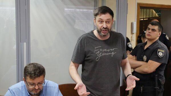 Руководитель портала РИА Новости Украина Кирилл Вышинский на заседании Подольского районного суда Киева. 3 июля 2019