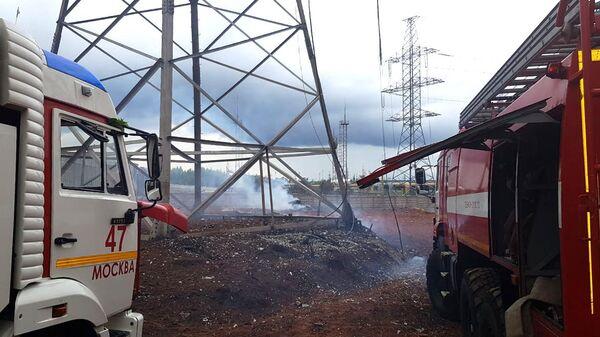 Тушение пожара на территории Северной ТЭЦ в Мытищах