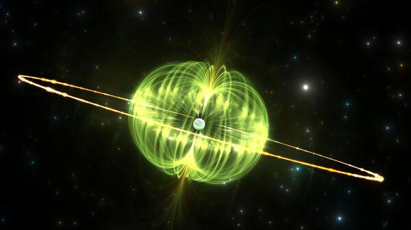 Магнитар — нейтронная звезда с очень сильным магнитным полем. Один из вероятных кандидатов в источники быстрых радиовсплесков.