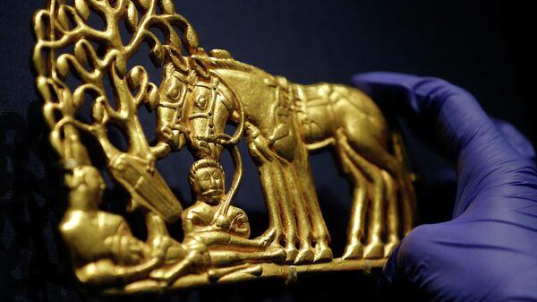 Экспонат выставки Скифы: воины древней Сибири в Лондоне. Архивное фото