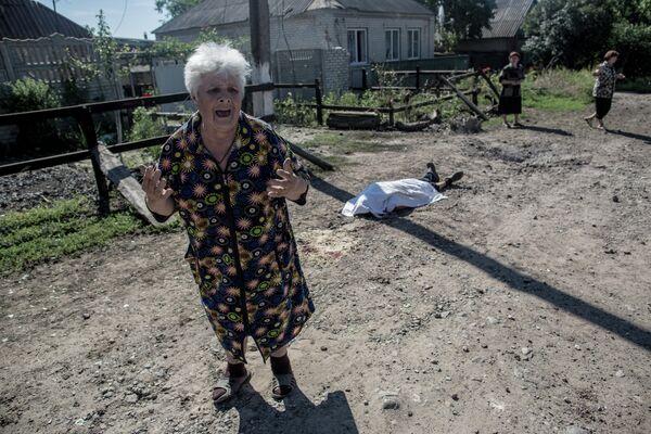 Последствия артобстрела Славянска украинскими военными.