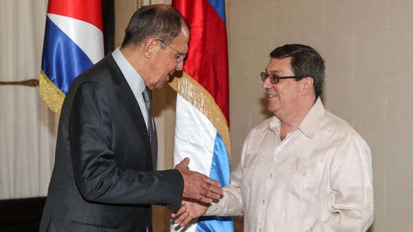 Министр иностранных дел РФ Сергей Лавров во время встречи с министром иностранных дел Кубы Бруно Родригесом Паррильей. 24 июля 2019