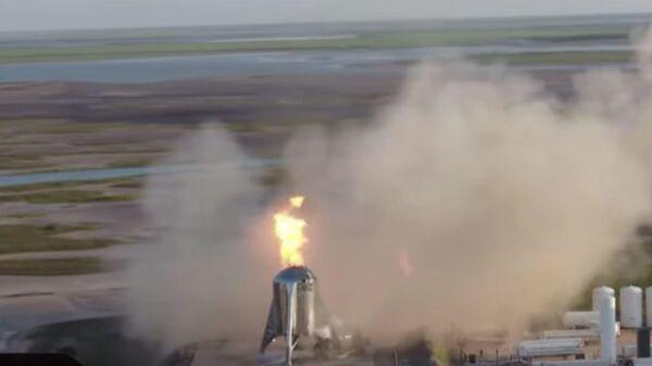 Пожар на звездолете SpaceX попал на видео