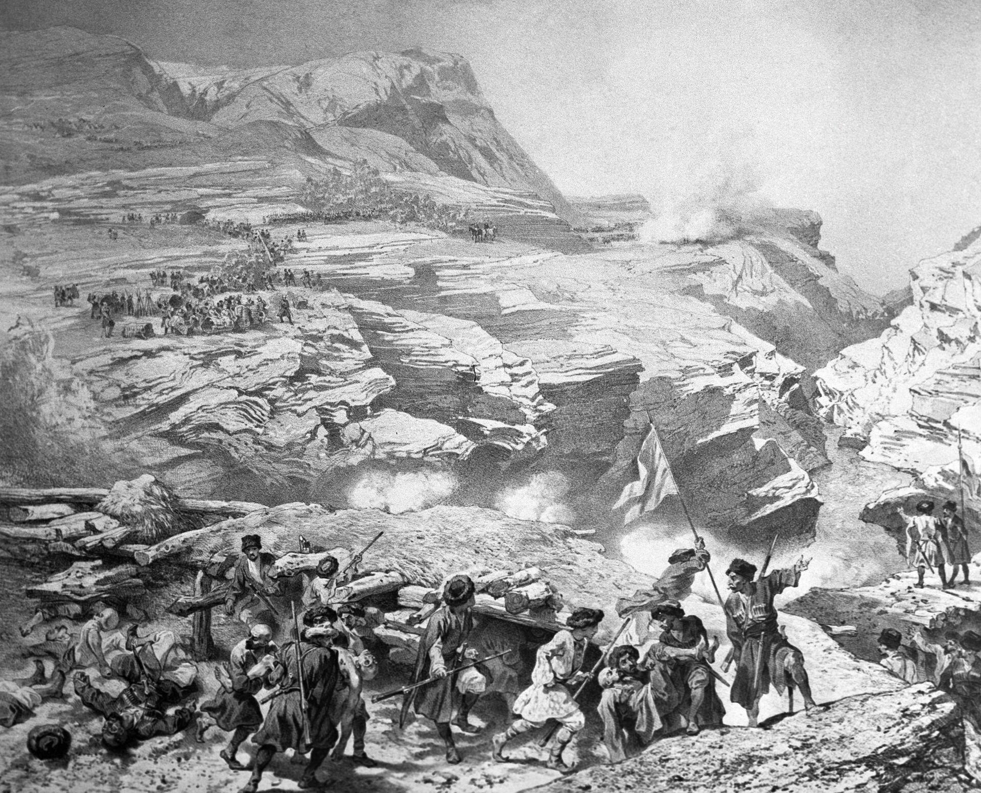 Литография Военные действия горцев против русских при Ахатли 8 мая 1841 года во время Кавказской войны 1840-50 годов - РИА Новости, 1920, 23.05.2021