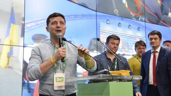 Президент Украины Владимир Зеленский в штабе партии Слуга Народа