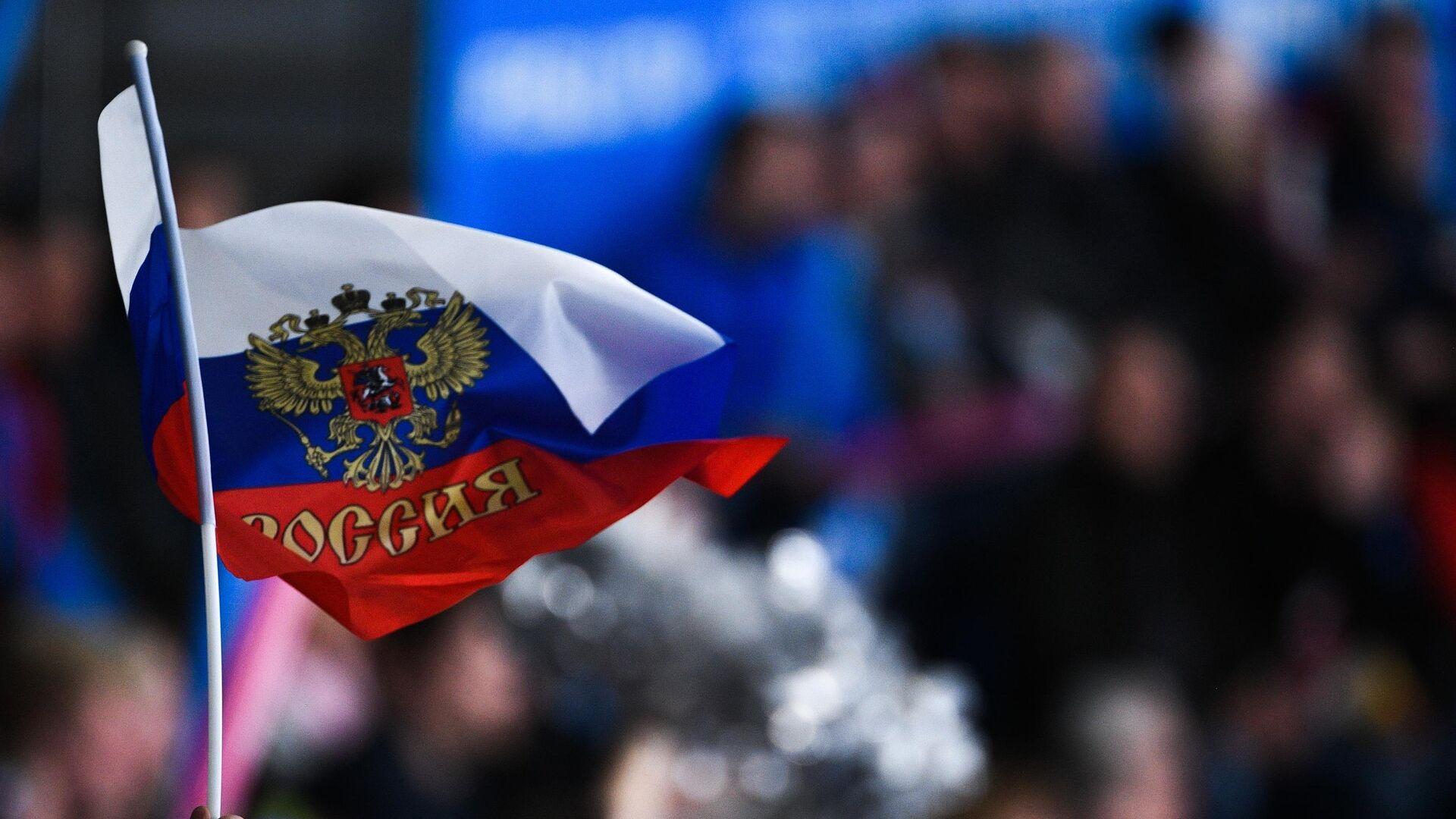 Российский флаг в руке болельщика - РИА Новости, 1920, 30.11.2020