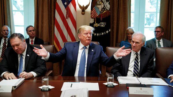Президент США Дональд Трамп во время совещания в Белом доме