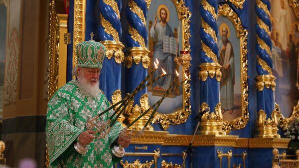 Патриарх Московский и всея Руси Кирилл во время освящения Успенского собора в Сарове. 31 июля 2019