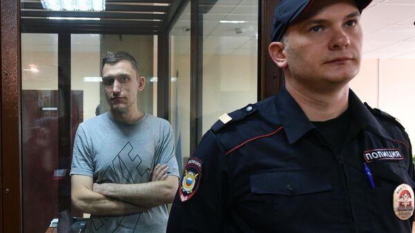 Константин Котов, задержанный на несанкционированной акции 10 августа в Москве, в Пресненском суде Москвы