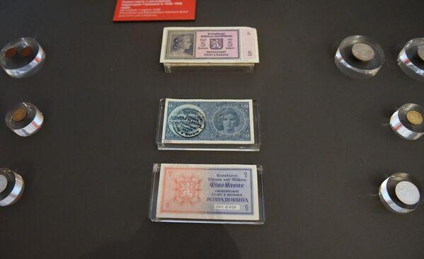 Банкноты Чехословакии 1939 года с надпечаткой и монеты, представленные на открытии историко-документальной выставки 1939 год. Начало Второй мировой войны в Выставочном зале федеральных архивов в Москве