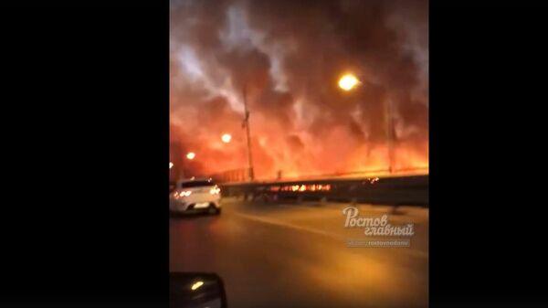 Пожар на берегу Дона сняли на видео