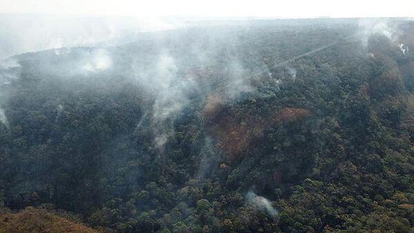 Природные пожары в лесу региона Чикитания в Боливии