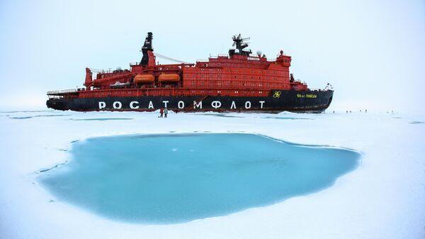 Атомный ледокол 50 лет Победы на Северном полюсе
