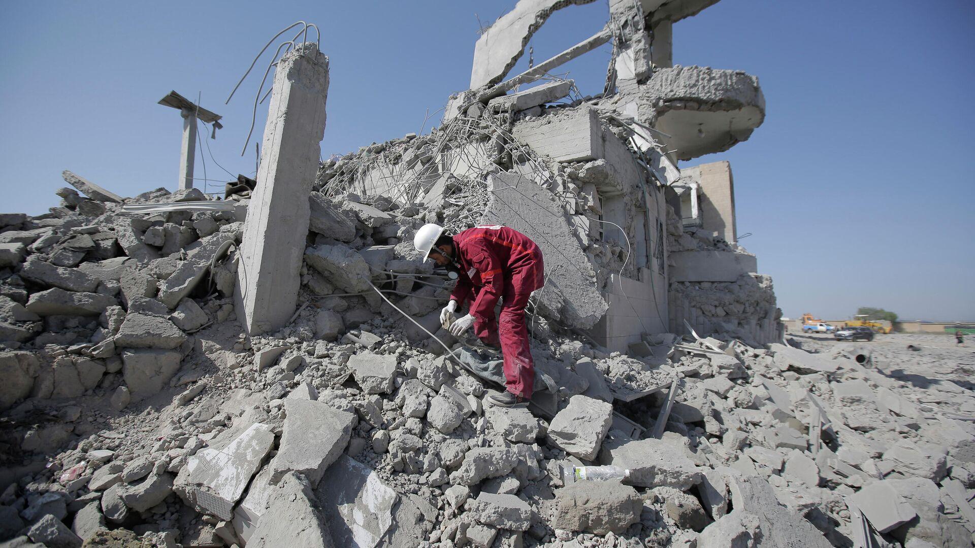 Разрушения в провинции Дхамар на юго-западе Йемена - РИА Новости, 1920, 29.07.2020