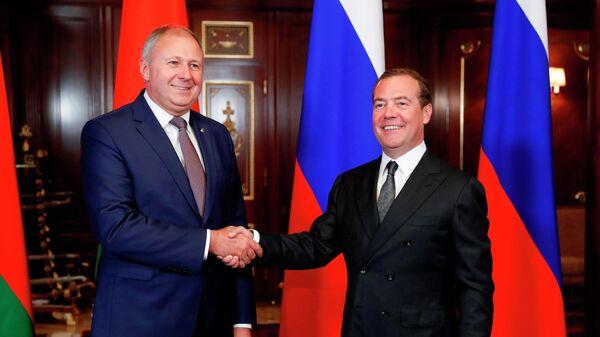Дмитрий Медведев и премьер-министр Белоруссии Сергей Румас, находящийся в России с рабочим визитом, во время встречи. 6 сентября 2019