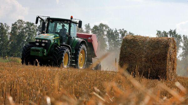 Заготовка сена на полях одного из совхозов Московской области