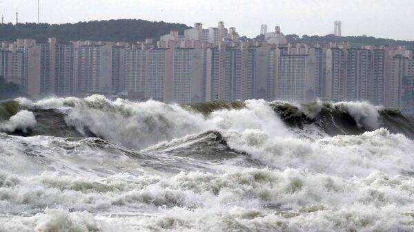 Волны, вызванные прохождением тайфуна Линлин, в Пусане, Южная Корея. 7 сентября 2019