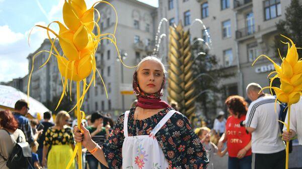 Празднование Дня города на Тверской улице в Москве