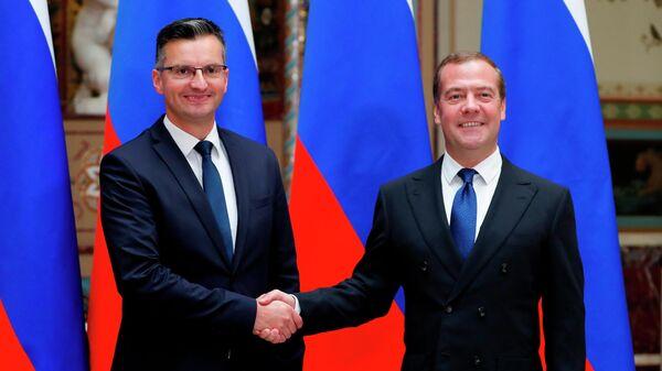 Председатель правительства РФ Дмитрий Медведев и председатель правительства Республики Словения Марьян Шарец во время встречи. 10 сентября 2019