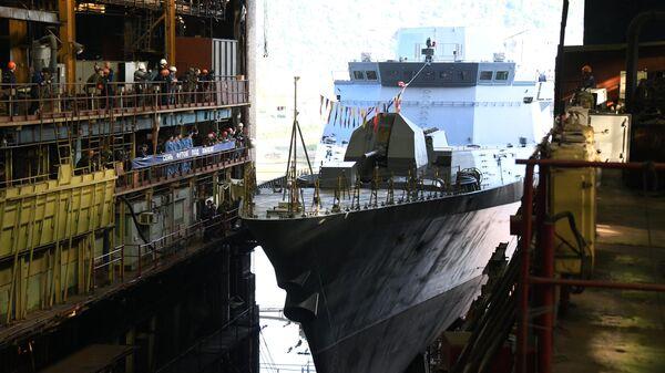 Спуск на воду корвета Герой России Алдар Цыденжапов
