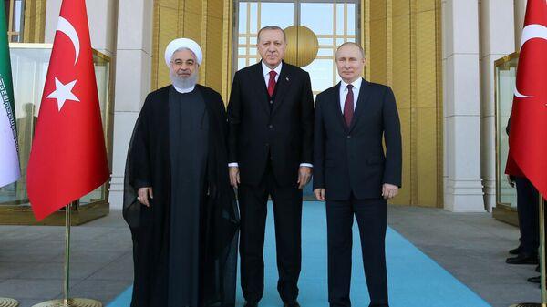 Владимир Путин, Реджеп Тайип Эрдоган и Хасан Роухани во время встречи в Анкаре