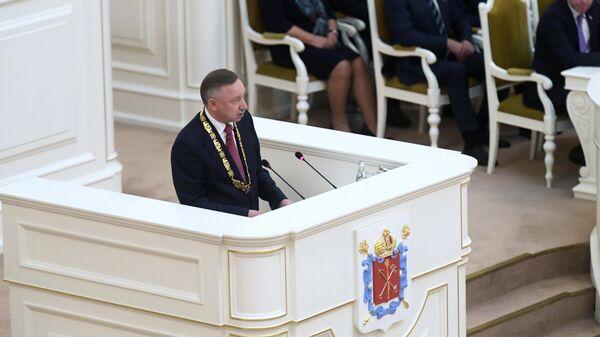 Избранный губернатор Санкт-Петербурга Александр Беглов выступает на церемонии инаугурации в Мариинском дворце