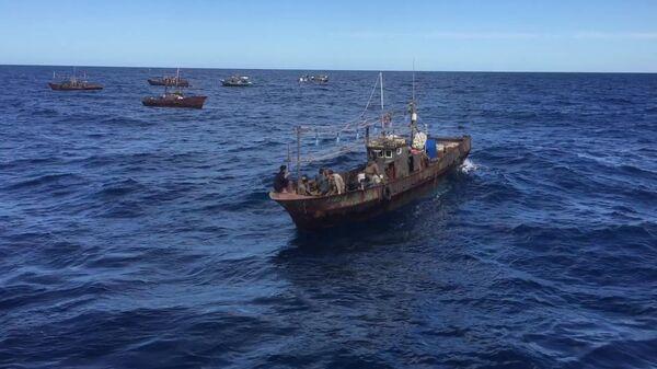 Судна северокорейскийх браконьеров в исключительной экономической зоне Российской Федерации в Японском море